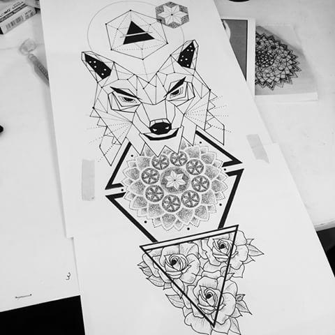Geometric Wolf Head With Mandala And Rises Tattoo Design