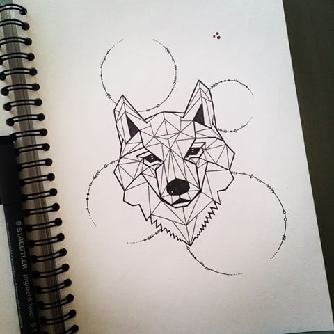 Geometric wolf portrait with circles tattoo design ... Simple Owl Tattoo Drawing