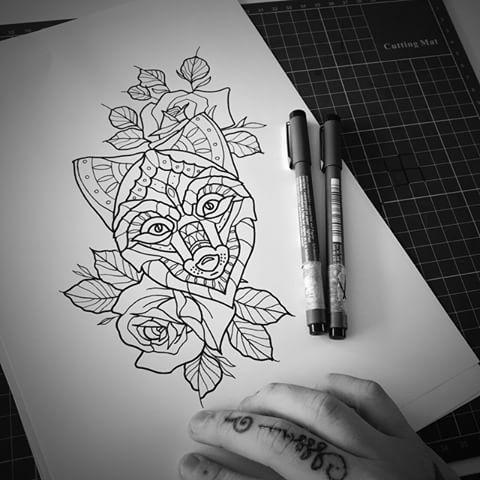 Geometric Wolf With Rose Flowers Tattoo Design Tattooimagesbiz