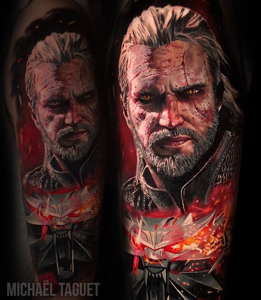 Geralt of Rivia from the Witcher tattoo