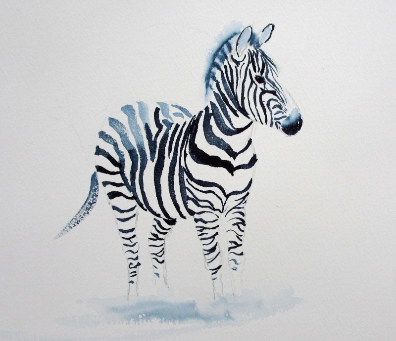 Ghostly zebra with watercolor effect tattoo design