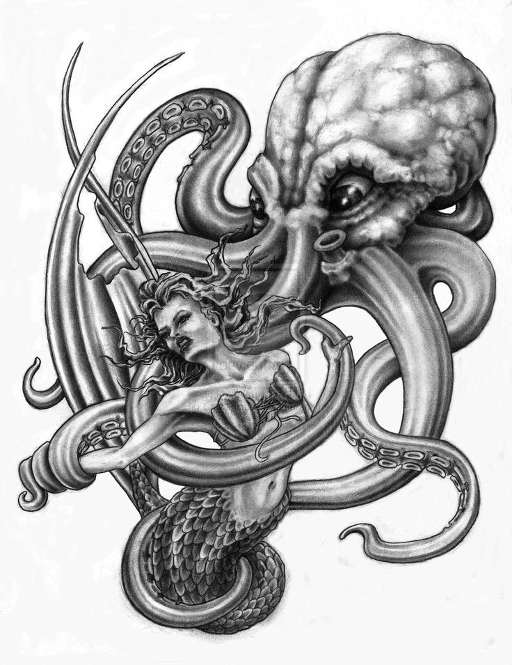 Giant grey octopus and pretty mermaid tattoo design