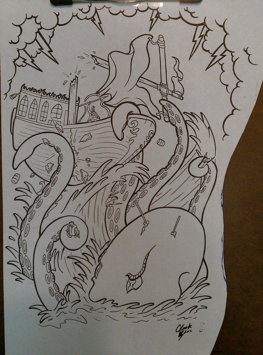 Giant octopus crashing a little boat tattoo design