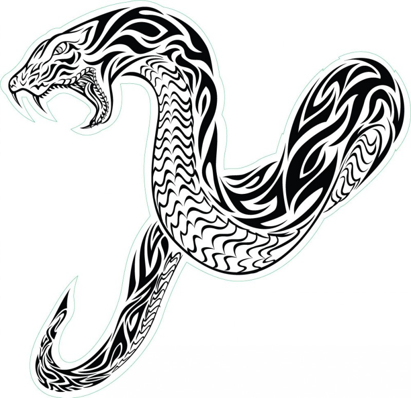 Giant tribal-patterned hissing reptile tattoo design