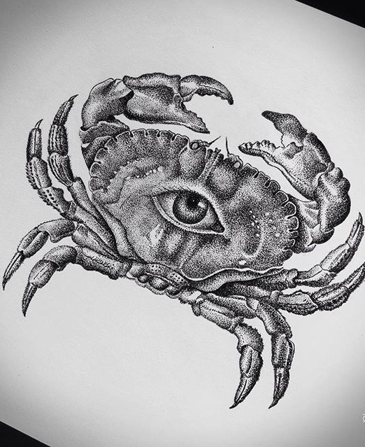 Gigant dotwork crab with human eye print tattoo design