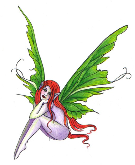 Ginger fairy with bright green wings tattoo design by Kitakazoo