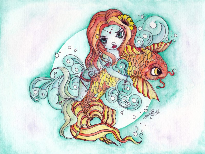 Ginger mermaid keeping a gold fish tattoo design by Concettas Designs