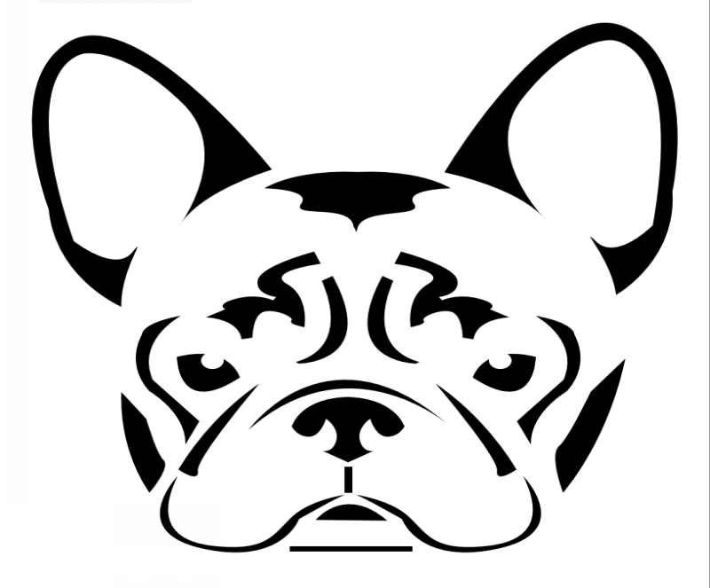 girly black line french bulldog tattoo design. Black Bedroom Furniture Sets. Home Design Ideas