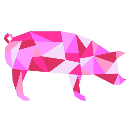 Girly bright pink geometric pig tattoo design