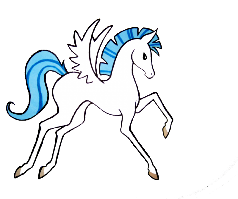 Girly cartoon pegasus with blue mane and tail tattoo design