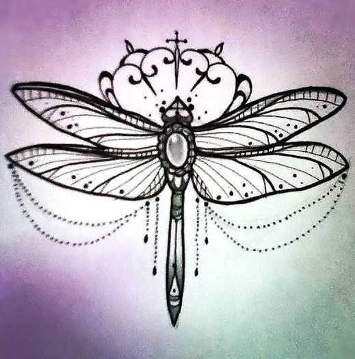 girly dragonfly with gem body and lace decorations tattoo design. Black Bedroom Furniture Sets. Home Design Ideas