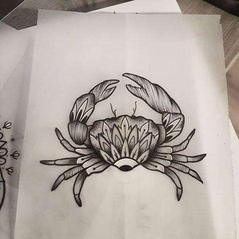 Girly grey-ink mandala-ornamented crab tattoo design