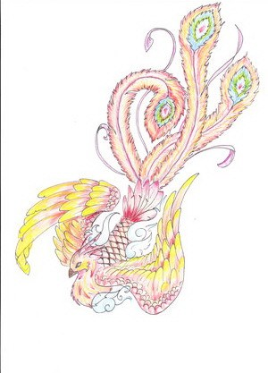 Girly pale-colored phoenix flying down tattoo design