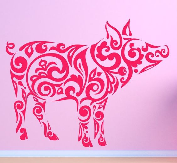 Girly pink-line tribal pig silhouette tattoo design