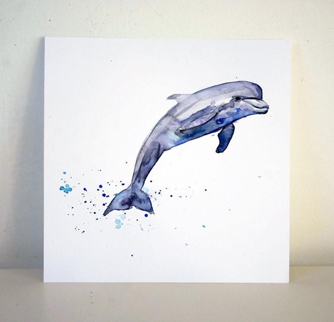 Girly purple waterolor dolphin tattoo design