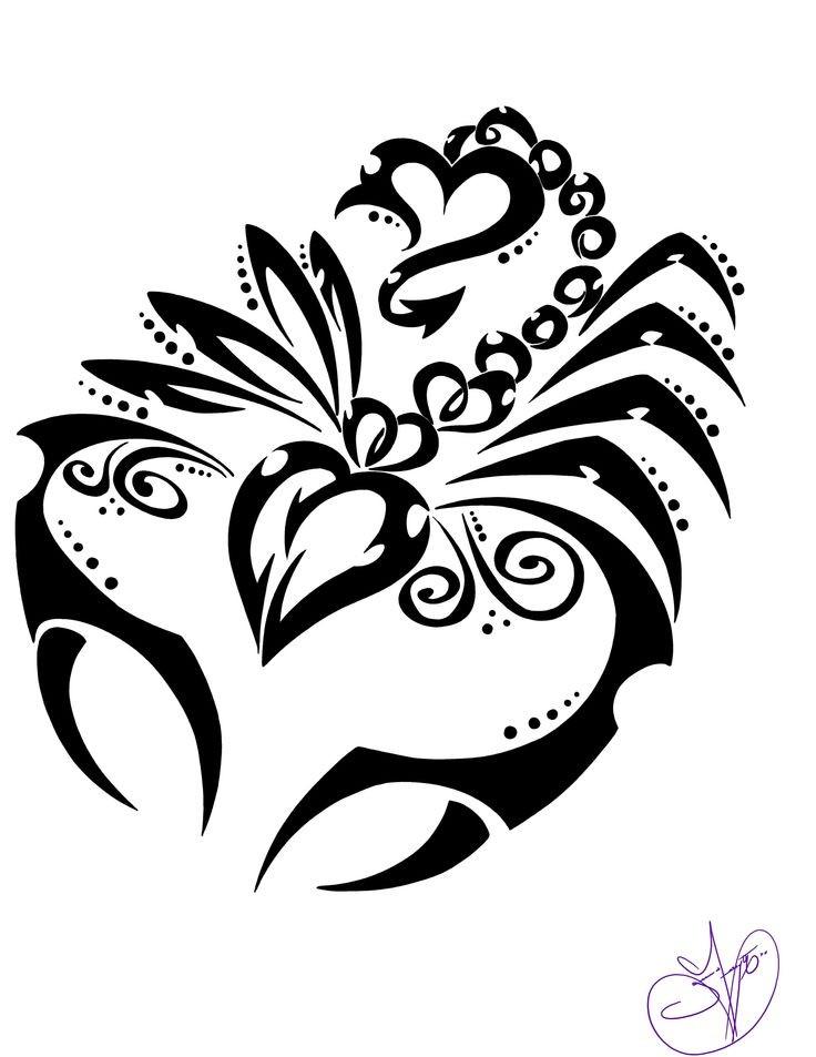 girly tribal black line scorpion design