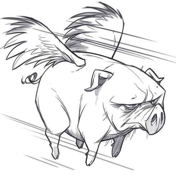 Gloomy animated flying pig with cute wings tattoo design
