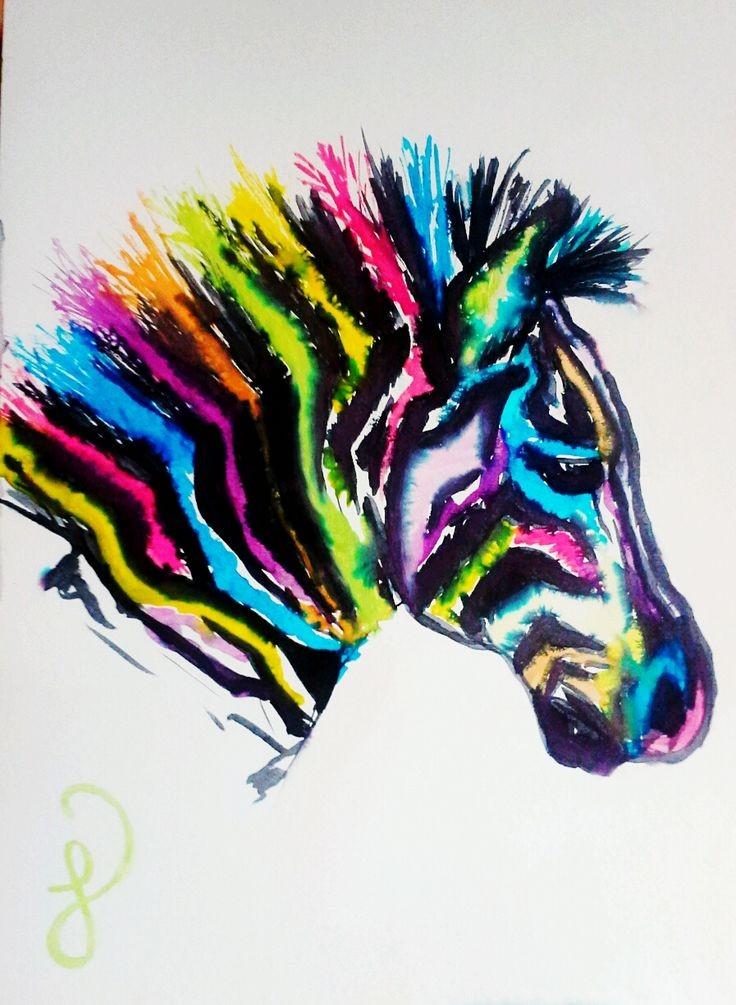 Gloomy raimbow watercolor zebra head in profile tattoo design