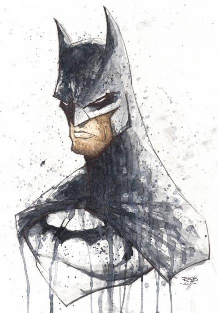 Gloomy watercolor batman portrait tattoo design