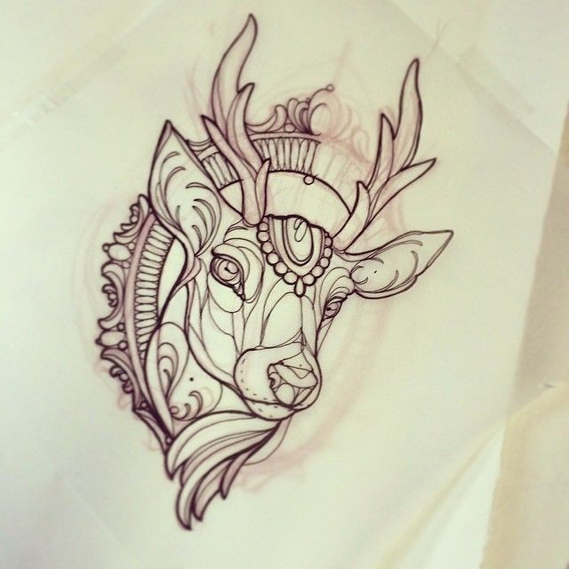 Glorious New School Deer Tattoo Design