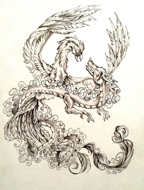 Glory grey-ink phoenix and chinese dragon battle tattoo design by Lucky978