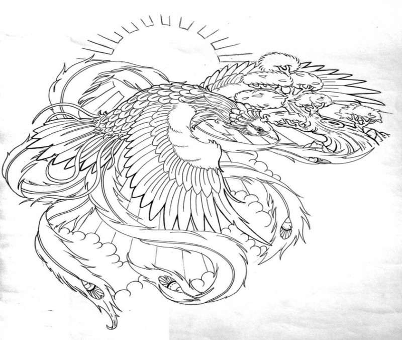 Glory uncolored phoenix flying on shining sun background tattoo design