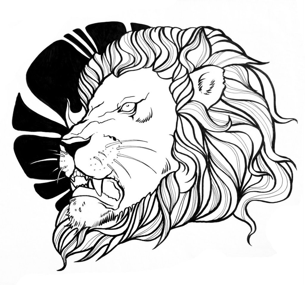 Gnarling Lion Head And Black Sun Tattoo Design By Weliss