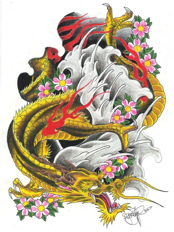 Golden asian dragon in red flame with pink cherry blossom tattoo design