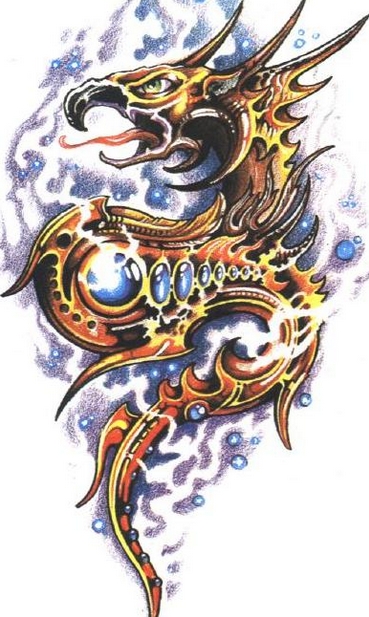 Golden dragon with blue gems on cloudy background tattoo design
