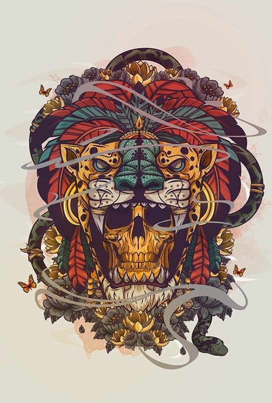 Golden skull and feather decorated jaguar head tattoo design