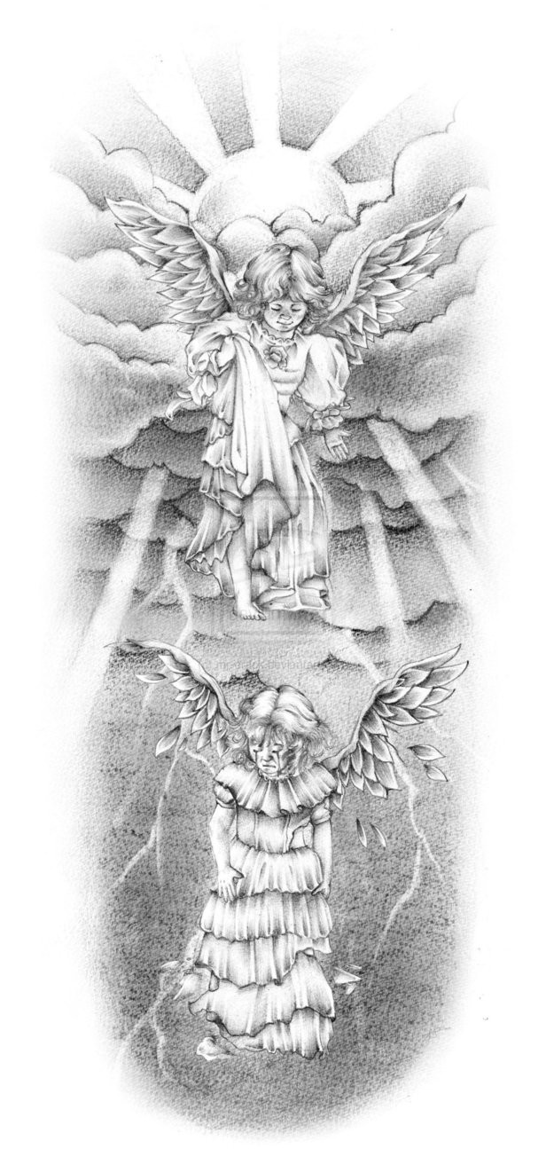 Good and bad grey-ink angels in under sun rays tattoo design