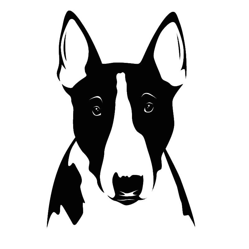 Good black-and-white bull terrier dog portrait tattoo design
