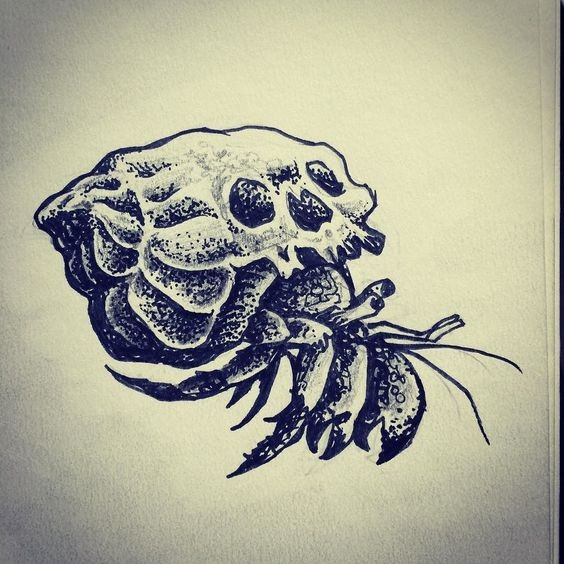 Good black-and-white hermit crab with skull-printed shell tattoo design