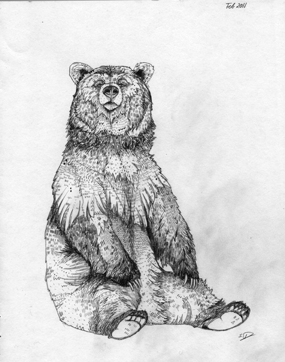 Good black-and-white sitting grizzly tattoo design