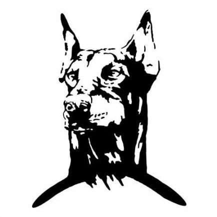 Good black-ink doberman muzzle tattoo design