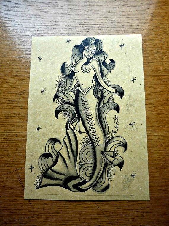 Good black-ink old school style mermaid tattoo design