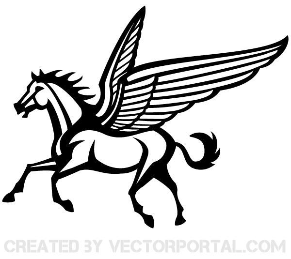 Good black-line running pegasus tattoo design