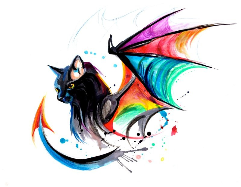Good black cat with dragon rainbow wings and tail tattoo design