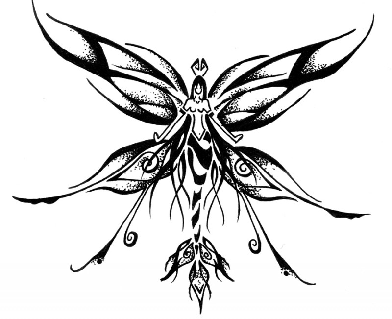 Good black dotwork-style fairy tattoo design