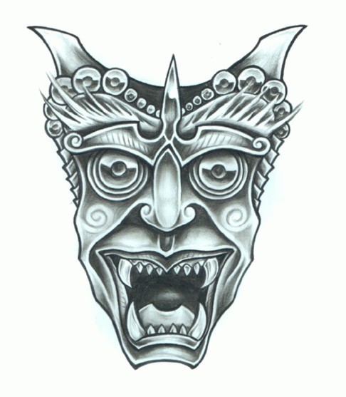 Good blue-ink japanese demon mask tattoo design - Tattooimages.biz