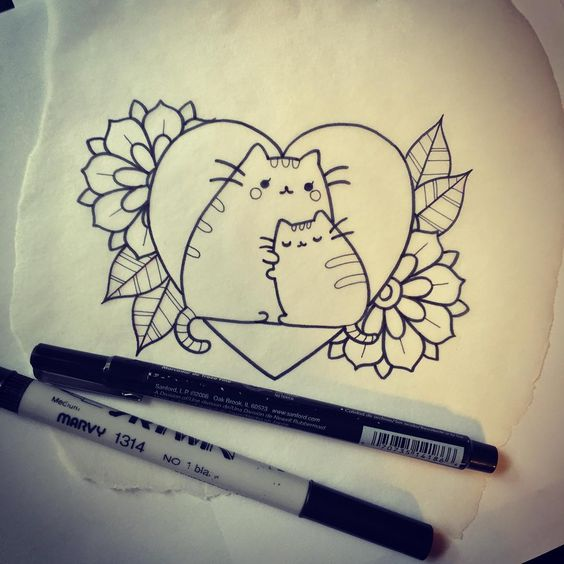 Good cartoon cat family in heart with old school flowers tattoo design