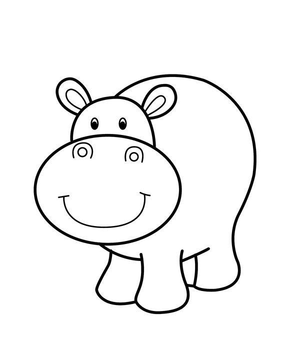 Good cartoon outline hippo tattoo design