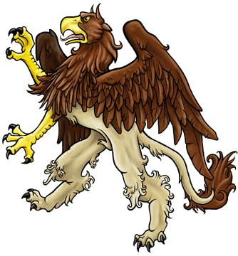 Good classic griffin in brown colors tattoo design