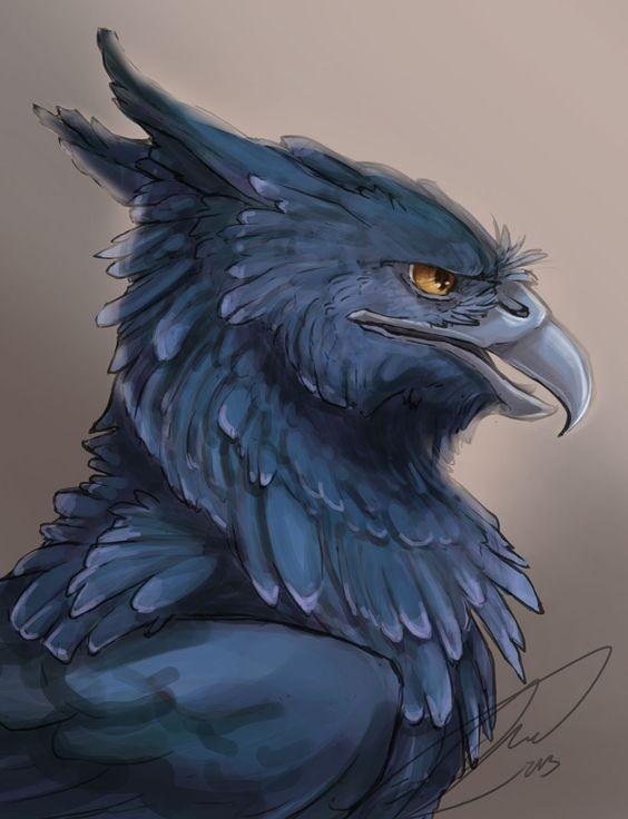 Good colored griffin portrait profile tattoo design