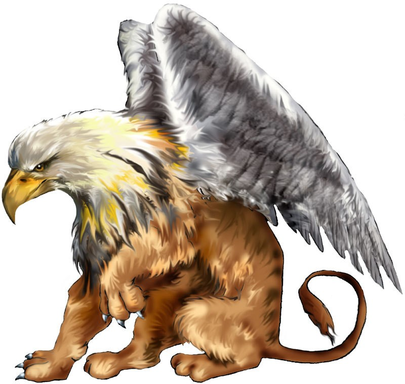 Good colorful sitting smiling griffin tattoo design