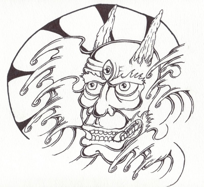 Good colorless devil with the trird eye and water waves tattoo design by Codizzle72