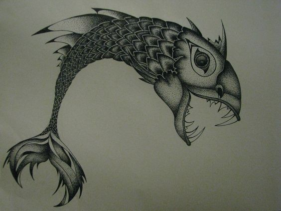 Good dotwork fish predetor tattoo design