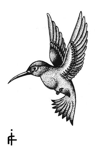 Good dotwork hummingbird tattoo design