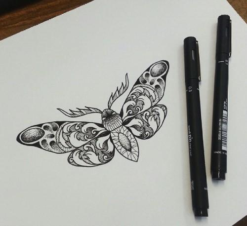 Good dotwork ornate moth tattoo design