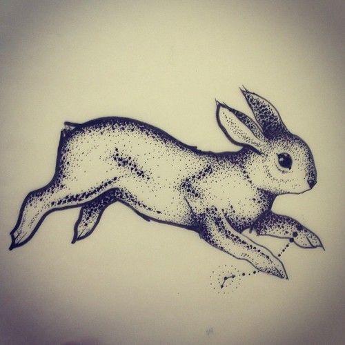 Good dotwork running rabbit tattoo design